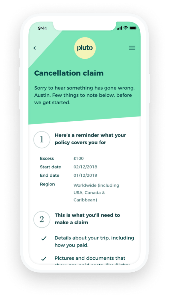 Mobile device showing a screen to submit a claim